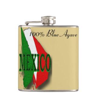 Mexico flag colors hip flask