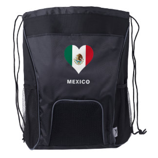 Mexico Flag Drawstring Backpack