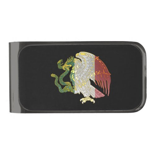 Mexico Flag Eagle Gunmetal Finish Money Clip