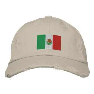 Mexico flag embroidered chino twill hat
