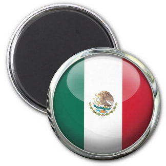 Mexico Flag Glass Ball 2 Inch Round Magnet