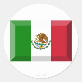 Mexico Flag Jewel Classic Round Sticker