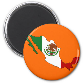 Mexico flag map 2 inch round magnet