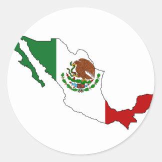 Mexico flag map classic round sticker