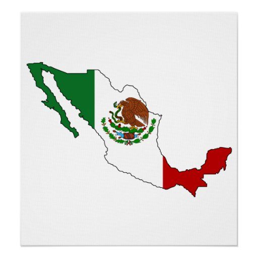 Mexico Flag Map full size Print