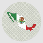 Mexico Flag Map full size Round Sticker