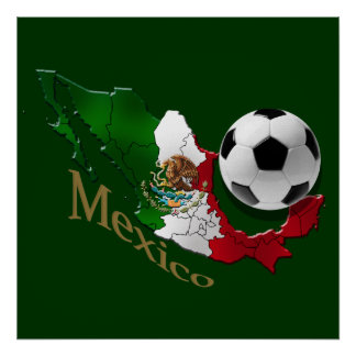 Mexico Flag Map Soccer fans Futbol gifts Poster