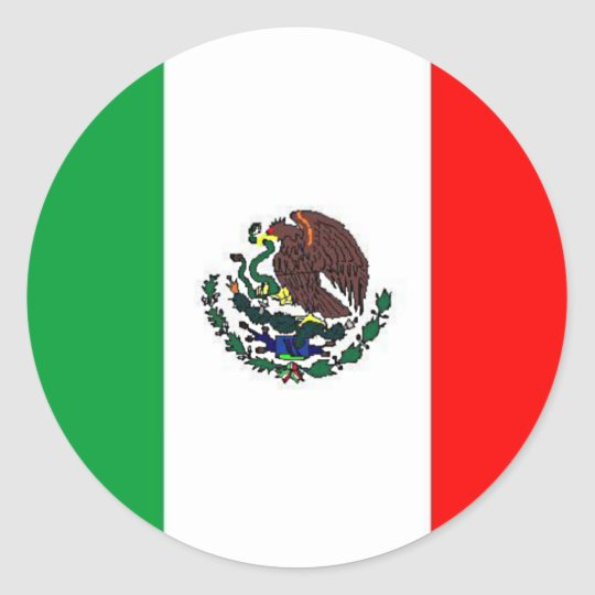Mexico flag national mexican flag classic round sticker