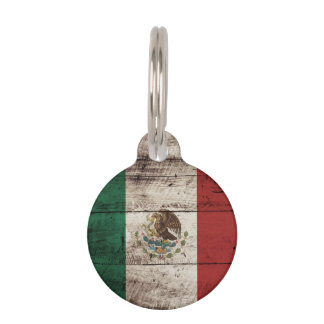 Mexico Flag on Old Wood Grain Pet Tag