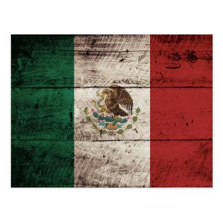 Mexico Flag on Old Wood Grain Postcard