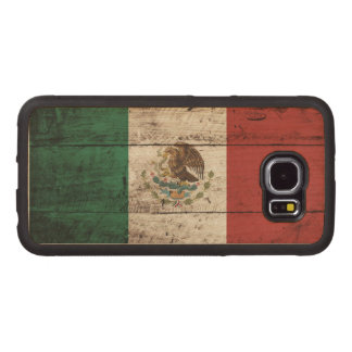 Mexico Flag on Old Wood Grain Wood Phone Case