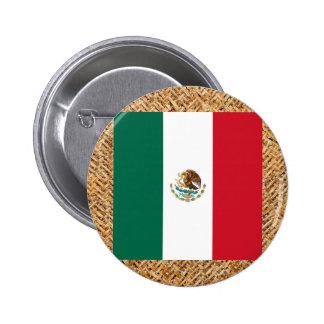 Mexico Flag on Textile themed Button