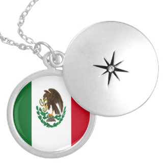 Mexico flag round locket necklace