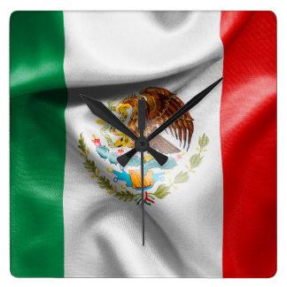 Mexico Flag Square Wall Clock