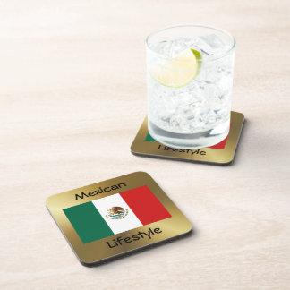 Mexico Flag+Text Coaster