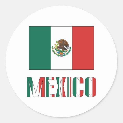 Mexico Flag & Word Round Sticker
