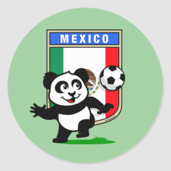 Round Sticker with Mexico Football Panda design