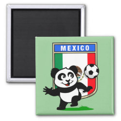Square Magnet with Mexico Football Panda design