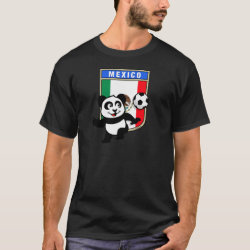 Men's Basic Dark T-Shirt with Mexico Football Panda design