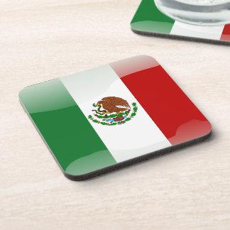 Mexico glossy flag drink coaster