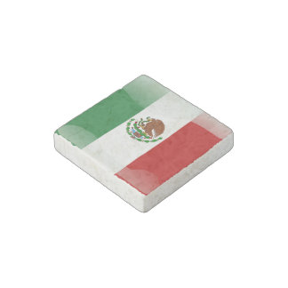 Mexico glossy flag stone magnet