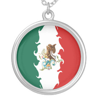 Mexico Gnarly Flag Silver Plated Necklace