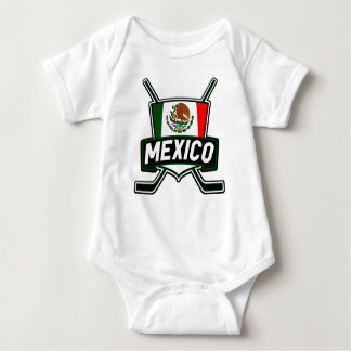 Mexico Ice Hockey Flag Baby Bodysuit