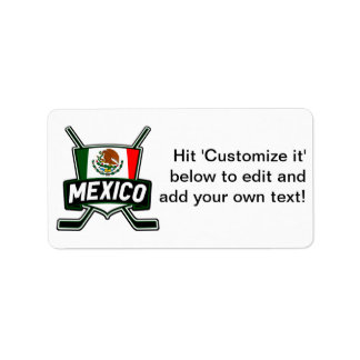 Mexico Ice Hockey Flag Label