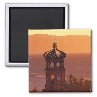 Mexico, Jalisco, Puerto Vallarta. Church tower 2 Inch Square Magnet