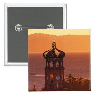 Mexico, Jalisco, Puerto Vallarta. Church tower Pinback Button