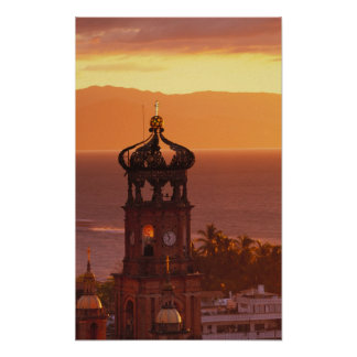 Mexico, Jalisco, Puerto Vallarta. Church tower Poster