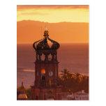México, Jalisco, Puerto Vallarta. Torre de iglesia Postal