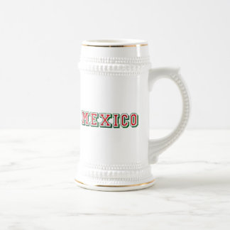 Mexico logo shiny shaded Mexican flag colored art Beer Stein