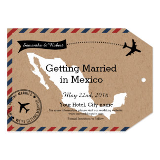 Mexico Map Airmail Luggage Tag Save Dates Card