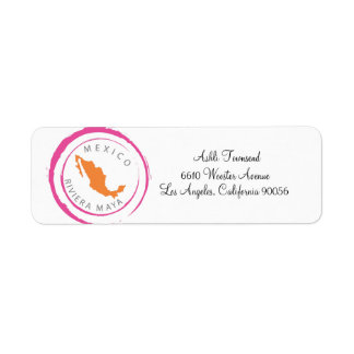 Mexico Map & Customize Your Text Return Address Labels