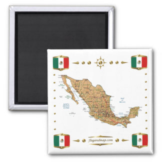 Mexico Map + Flags Magnet