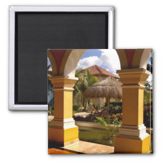 Mexico, Mayan Riviera, architecture at Iberostar 2 Inch Square Magnet