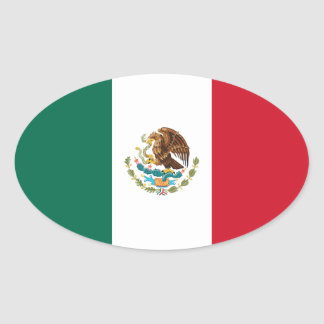 Mexico Mexican Flag Oval Stickers