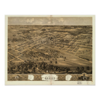 Mexico Missouri 1869 Antique Panoramic Map Posters