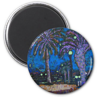 Mexico Night Palm trees acrylic painting art Magnet