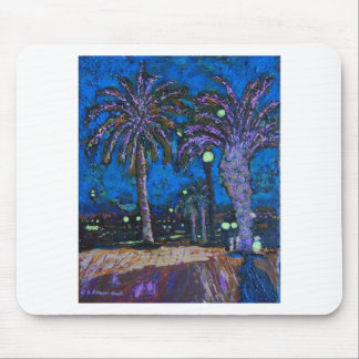 Mexico Night Palm trees acrylic painting art Mouse Pad