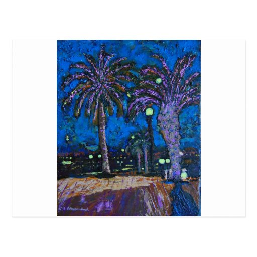 Mexico Night Palm trees acrylic painting art Postcards