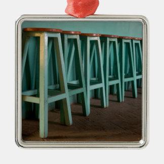 Mexico, Oaxaca, Green Bar Stools line wall Metal Ornament