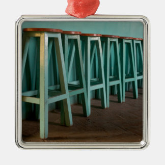Mexico, Oaxaca, Green Bar Stools line wall Square Metal Christmas Ornament
