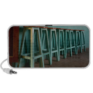 Mexico, Oaxaca, Green Bar Stools line wall Travelling Speakers