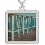 Mexico, Oaxaca, Green Bar Stools line wall Square Pendant Necklace