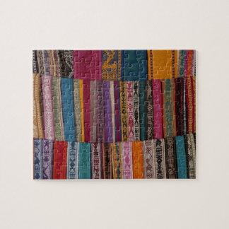 Mexico, Oaxaca Province, Oaxaca, woven belts on Jigsaw Puzzle