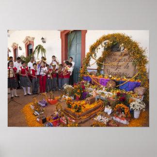 Mexico, Oaxaca Province, Ocotlan, students in Poster