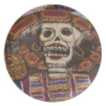 Mexico, Oaxaca. Sand tapestry (tapete de arena) Plates