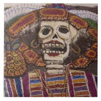 Mexico, Oaxaca. Sand tapestry (tapete de arena) Tile